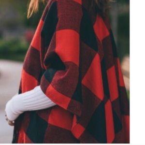 Cozy Season Blanket Scarf Shawl Wrap Red Black
